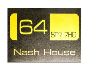 House Name - Number - Post Code plaque Made to order |  Metal flake Gold & Charcoal  Colour Sign |